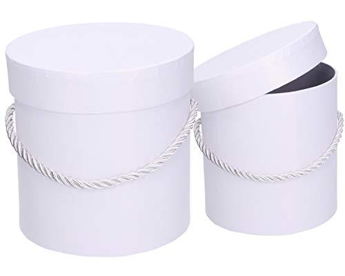 3er Set runde Dekorative Dekoschachteln in Weiß mit weißer Kordel, Dekobox, Blumenbox, Aufbewahrungsbox, Hutschachtel, Rosenbox, Geschenkkartons, Geschenkbox