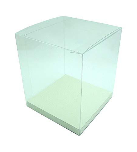Geschenk-Box durchsichtig, transparent, Geschenk-Schachtel Verpackung mit Einlegeboden, für Hochzeiten Gastgeschenke, Weihnachtsgeschenke, Produktverpackungen (150 x 150 x 150 mm)
