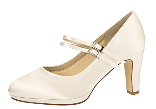 Rainbow Club Brautschuhe Annette - Pumps Riemchen Ivory Satin - High Heels - Gr 40 EU 7 UK