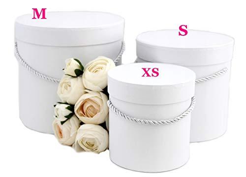 3er Set runde Dekorative Dekoschachteln in Weiß mit weißer Kordel