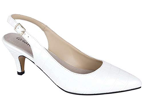 Slingback-Braut-Pumps in Weiß