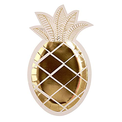 Cooles JGA Deko-Highligt: 8 goldene Ananas-Pappteller