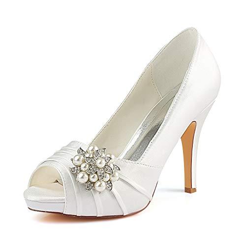 Braut-Peeptoes mit Perlen