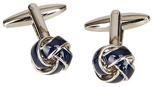Blau-silberne Manschettenknöpfe in Knotenform
