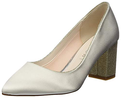 Braut-Pumps mit glitzerndem Blockabsatz