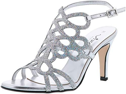 Silbern glitzernde Braut-Sandalen