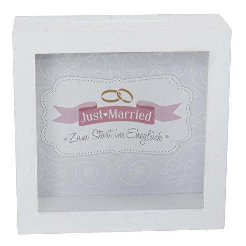 Michel Toys Spardose Just Married aus Holz 15,5x15,5 cm - Ideales Hochzeitsgeschenk - Zum Aufstellen & Aufhängen - Bilderrahmen mit Einwurf -