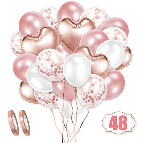 Deko für Candy Bar: 48 Luftballons mit Bändern in Roségold