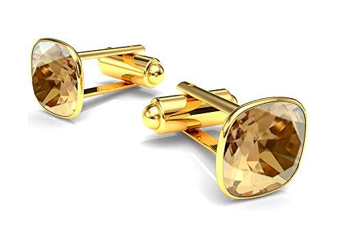 Goldene Manschettenknöpfe mit Swarovski Kristall