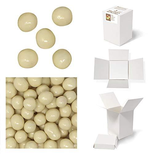 Haselnüsse mit weißem Schokoladenüberzug