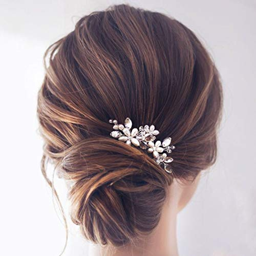 Haarkamm mit Strass und Perlen