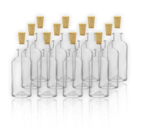 12 Apothekerflaschen / Glasflaschen mit Korken 100ml / 10cl leere Flaschen aus Glas zum selbst befüllen / abfüllen Flaschen für Gewürze, Likör, etc.