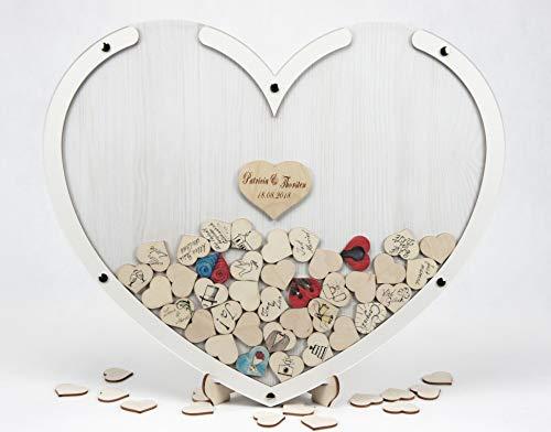 Herzen im Rahmen - Personalisierbar mit Wunschgravur, 50 x 40 cm