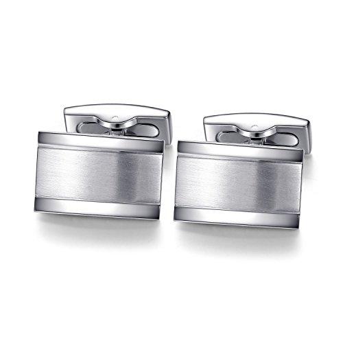 Schlichte Manschettenknöpfe zur Hochzeit in Silber