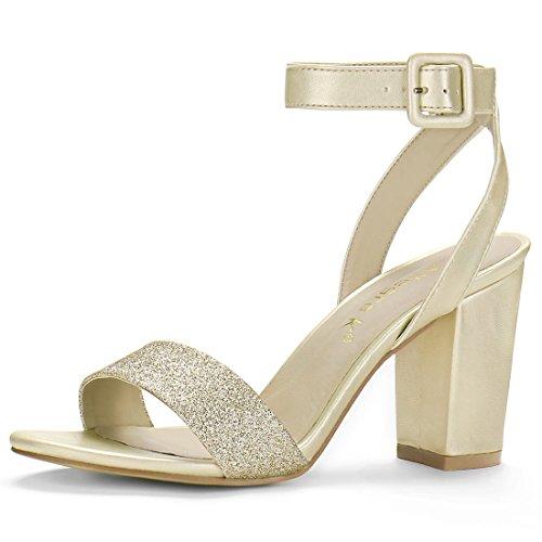 Goldene Braut-Sandalen mit Blockabsatz