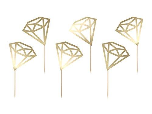 6 goldene Diamant-Foodpieker für euren JGA