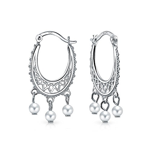 Boho Creolen mit Perlen