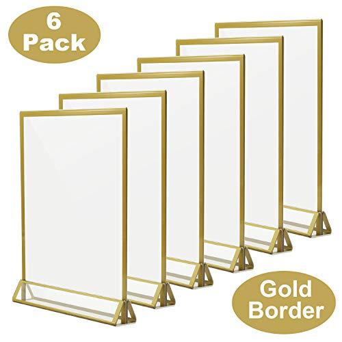 Acrylständer mit Goldrand, 6 Stück
