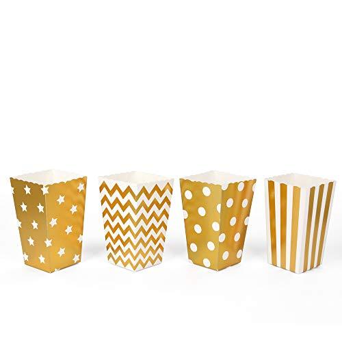 40 goldene Popcorntüten mit verschiedenen Designs