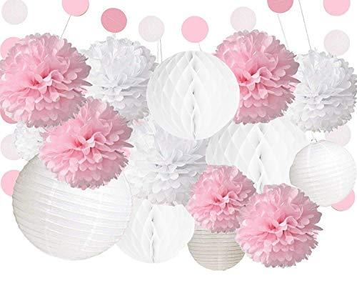 Candy Bar Deko Pompoms in Weiß, Altrosa und Aprikose