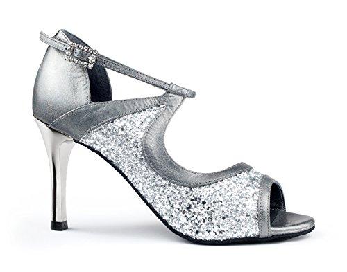 Silbern glitzernde Braut-Stilettos