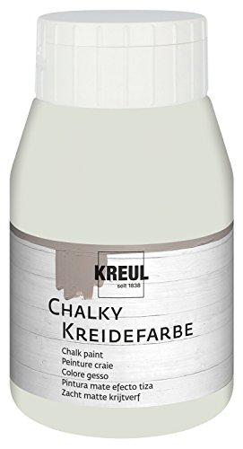 Kreul 75112 - Chalky Kreidefarbe, sanft - matte Farbe, cremig deckend, schnelltrocknend, für Effekte im Used Look, 500 ml Kunststoffflasche, Cream Cashmere