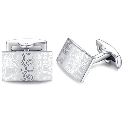 Silberne Manschettenknöpfe mit Muster