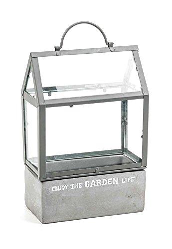 Mini Gewächshaus, Zement-Basis, Metall-Gestänge, Glas-Einleger, Shabby-Chic, 2-teilig, grau