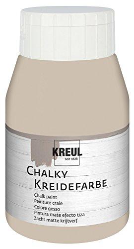 Kreul 75120 - Chalky Kreidefarbe, sanft - matte Farbe, cremig deckend, schnelltrocknend, für Effekte im Used Look, 500 ml Kunststoffflasche, Noble Nougat