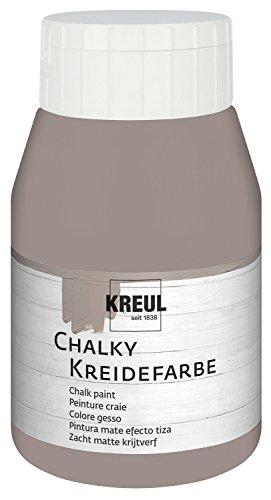 Kreul 75121 - Chalky Kreidefarbe, sanft - matte Farbe, cremig deckend, schnelltrocknend, für Effekte im Used Look, 500 ml Kunststoffflasche, Mild Mocca