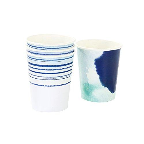 Junggesellenabschied Deko: 4 weiß-blaue Pappbecher