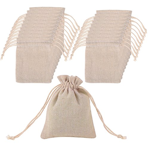 20 Stück Baumwolle Musselin Beutel Tunnelzug Musselinbeutel für Hochzeit Party Mitbringsel und DIY Handwerk, 4,7 mal 3,5 Zoll