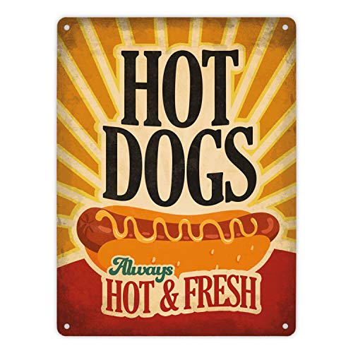 Blechschild Hot Dogs im Retro Stil