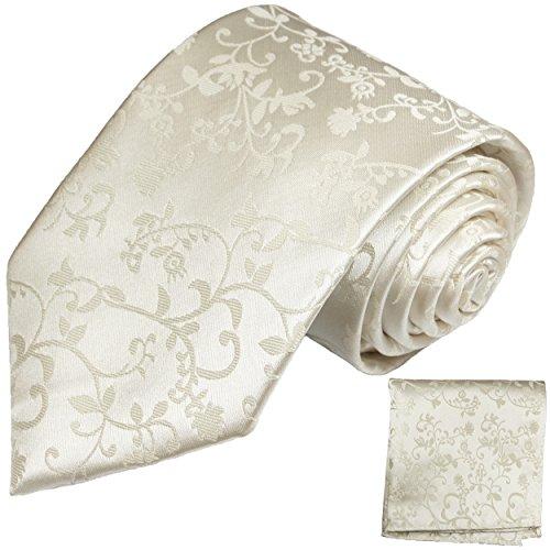 Ivory Krawatte und Einstecktuch zur Hochzeit Rankenmuster