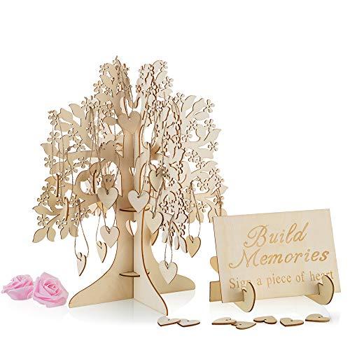 Wunschbaum aus Holz mit 50 Herzen und Begrüßungskarte