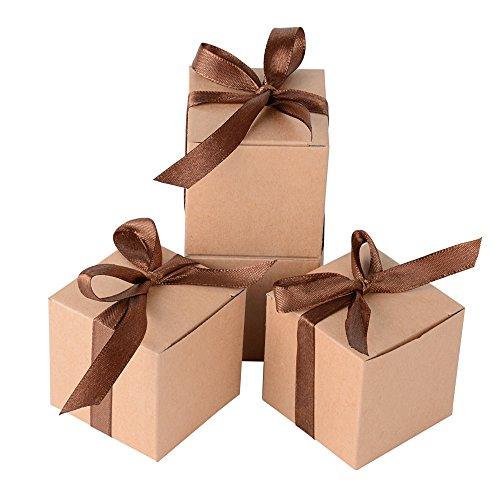 AONER 100 STK. 5x5x5 cm Gastgeschenk Box (inkl. Seidenbänder) Geschenkbox für Hochzeit, Taufe, Party usw. Pralinenschachtel süßigkeiten Bonboniere (Braun)