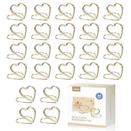 Herzförmiger Kartenhalter in Gold oder Rosegold, 24 Stück
