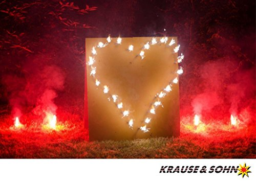 Krause & Sohn Lichterbild Brennendes Herz, fertig montiert, mit 10 roten Bengalfeuern: 60 Sek. Brennzeit
