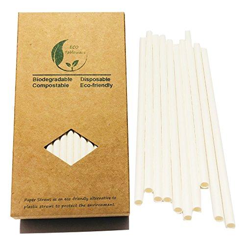 Weiße Papierstrohhalme