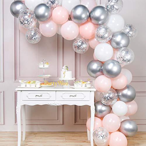 Candy Bar Luftballongirlande 60-teilig in Rosa, Weiß und Silber