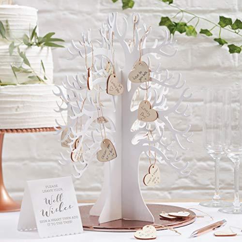 Weißer Wunschbaum aus Holz mit 70 Herzen