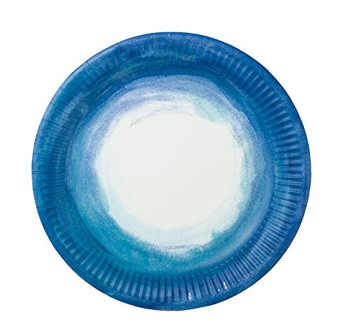 Weiß-blauer Pappteller für den maritimen JGA