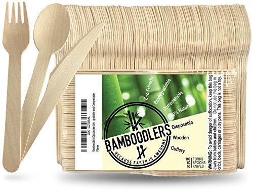 Besteck Holz Bambus, 200 Stück
