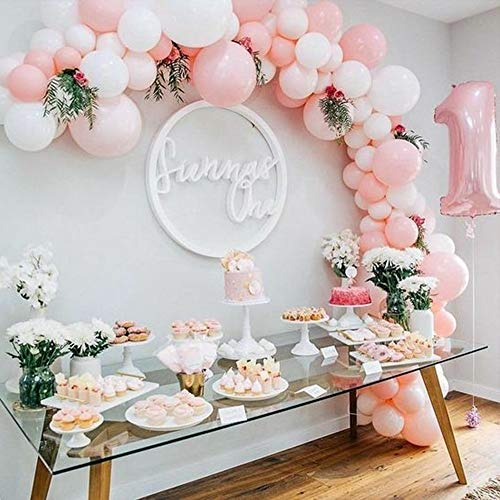 Candy Bar Dekoration mit 100 Luftballons in Weiß und Rosa