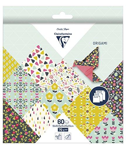 60 Bögen Origamipapier in Blumendesign mit 3 Formaten