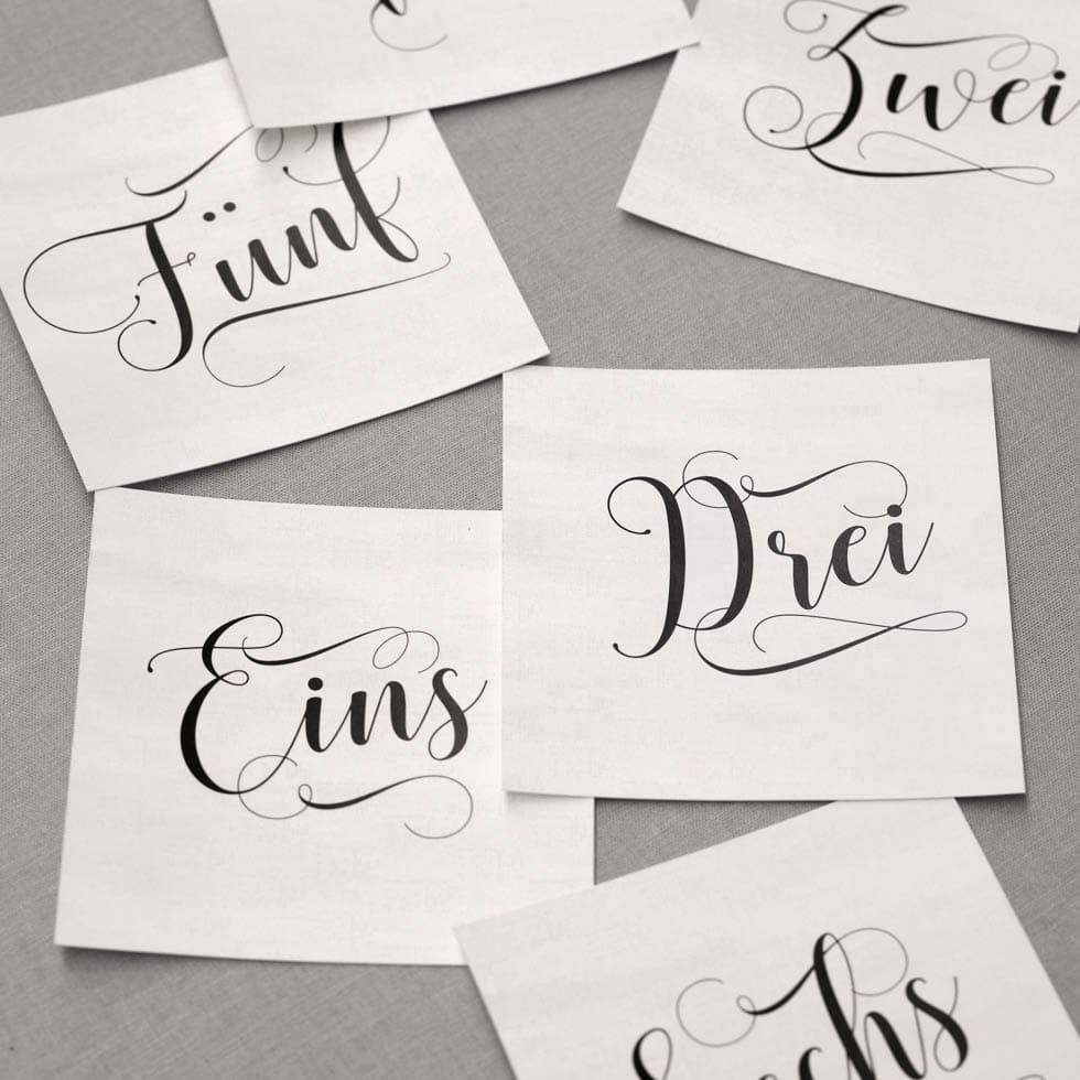Tischnummern Calligraphie Schrift