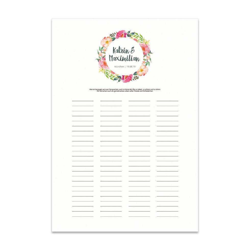 Trau-Urkunde zur Hochzeit mit Blumen