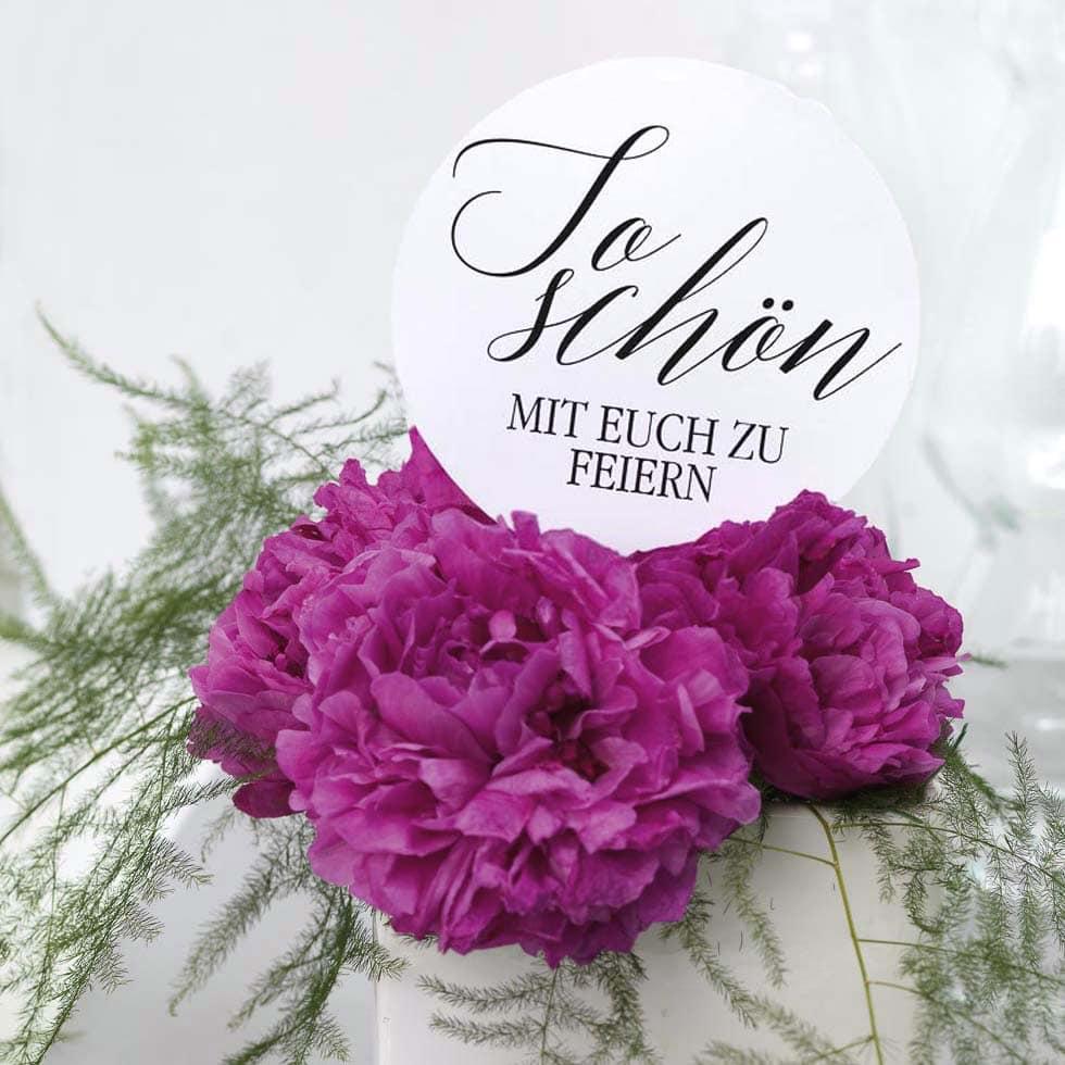 Tischnummer Hochzeit Rückseite Botschaft