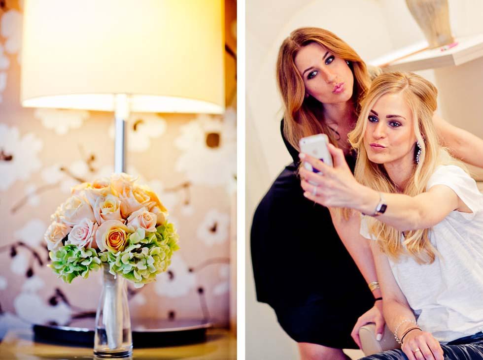 Brautfungfern und Brautstrauß