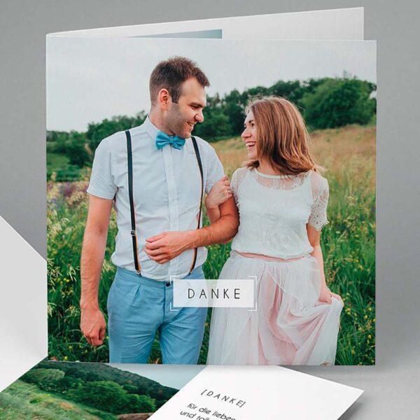 Dankeskarte Hochzeit Klappkarte mit Foto